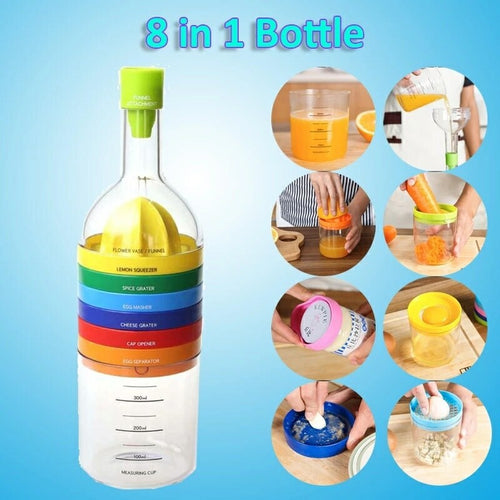 8 in 1 Kitchen Bottle Tool Set- Multi Kitchen Gadgets Maker(Funnel, Juicer Lemon squeezer, Spice grater, Egg masher, Cheese grater, Egg separator, Measuring cup, Can opener)