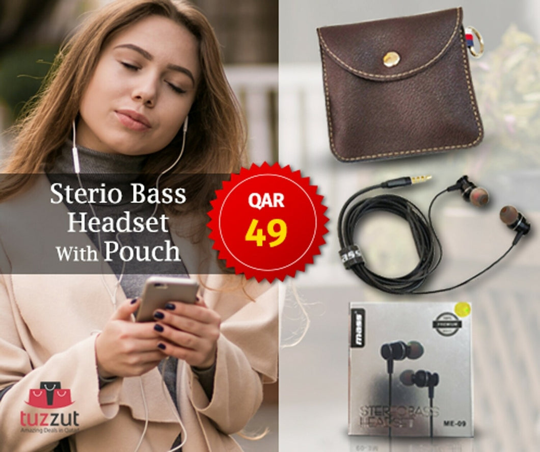 Mass ME-09 Sterio Bass Wired Headset with Free Pouch