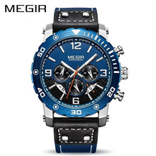 Load image into Gallery viewer, MEGIR 2084 Multi-Functional Chronograph Leather Quartz Qatch - Blue