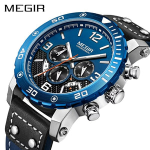 MEGIR 2084 Multi-Functional Chronograph Leather Quartz Qatch - Blue - TUZZUT Qatar Online Store