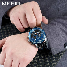 Load image into Gallery viewer, MEGIR 2084 Multi-Functional Chronograph Leather Quartz Qatch - Blue - TUZZUT Qatar Online Store