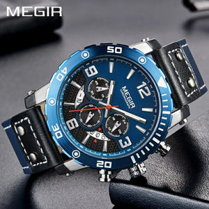 MEGIR 2084 Multi-Functional Chronograph Leather Quartz Qatch - Blue