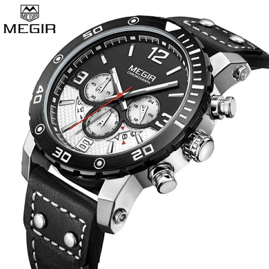 MEGIR 2084 Multi-Functional Chronograph Leather Quartz Qatch - Black
