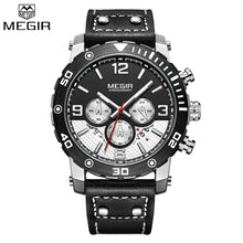 Load image into Gallery viewer, MEGIR 2084 Multi-Functional Chronograph Leather Quartz Qatch - Black - TUZZUT Qatar Online Store