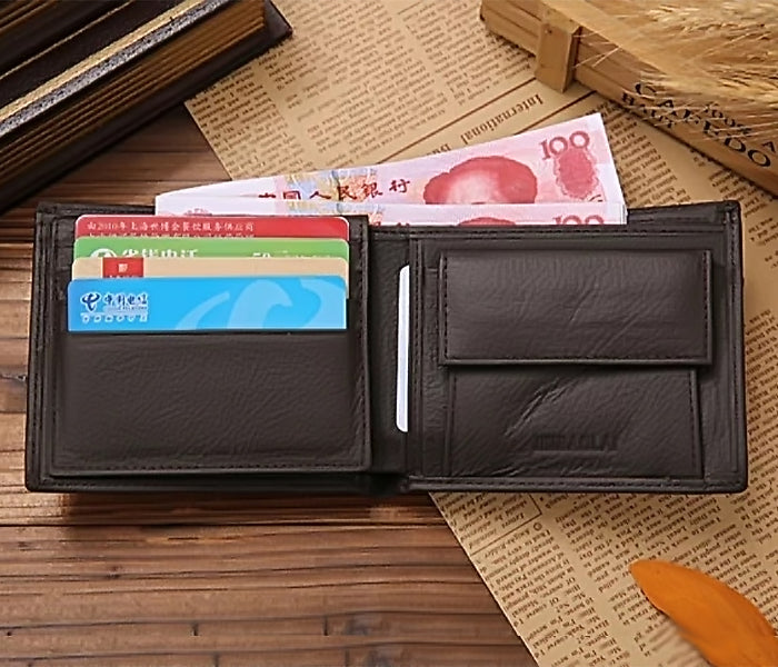JINBAOLAI CW-8041 Short Bifold Genuine Leather Men Luxury Wallet With Coin Pocket Purse - BROWN - TUZZUT Qatar Online Store
