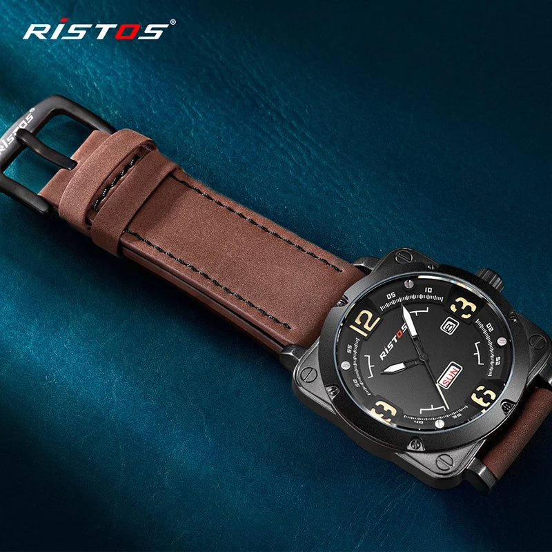 RISTOS Men Quartz Watches Military Genuine Leather Sports Watch Reloj Masculino Business Wrist watch Relogio Hombre Unique 9320 - TUZZUT Qatar Online Store