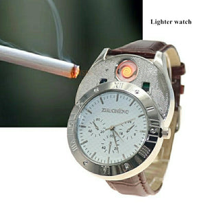 Zhuoheng Male Quartz Watch LED Electronic Lighters for Cigarette