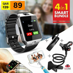 4 in 1 Smart Bundle Offer- Bluetooth Smart Watch + Bluetooth Headset + Phone Holder + Selfie Stick