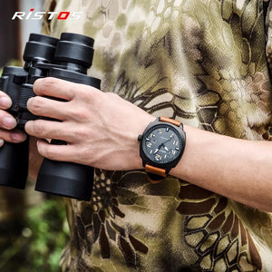 Fashion Ristos Brand Men Quartz Analog Watch Army Style Leather Watches Reloj Masculino Hombre Man Sport Military Design 9351
