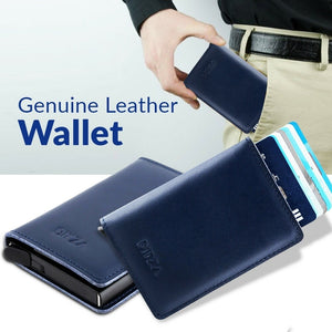Bitza Ultra Slim Genuine Leather Card Holder Wallet with RFID Protection