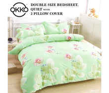 Load image into Gallery viewer, OKKO Elegant Double Size Bedsheet, Quilt And 2 Pillow Covers (4 pc set) GH 277 - Green