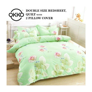 OKKO Elegant Double Size Bedsheet, Quilt And 2 Pillow Covers (4 pc set) GH 277 - Green - TUZZUT Qatar Online Store