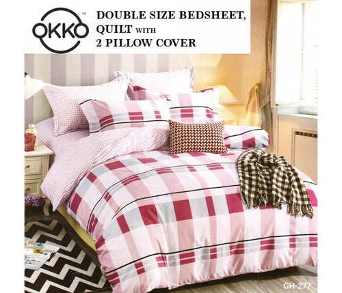OKKO Elegant Double Size Bedsheet, Quilt And 2 Pillow Covers (4 pc set) GH 277 - Red