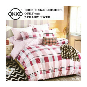 OKKO Elegant Double Size Bedsheet, Quilt And 2 Pillow Covers (4 pc set) GH 277 - Red - TUZZUT Qatar Online Store