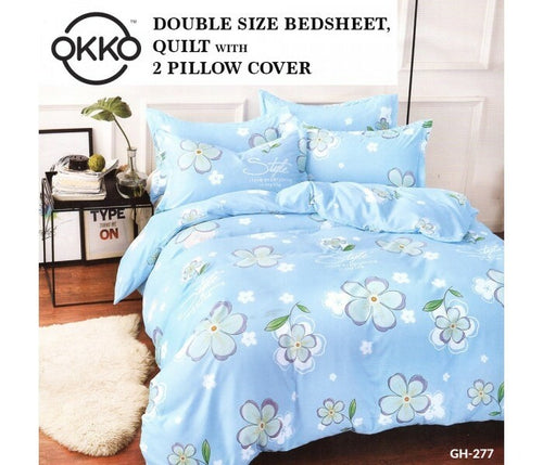 OKKO Elegant Double Size Bedsheet, Quilt And 2 Pillow Covers (4 pc set) GH 277 - Light Blue - TUZZUT Qatar Online Store