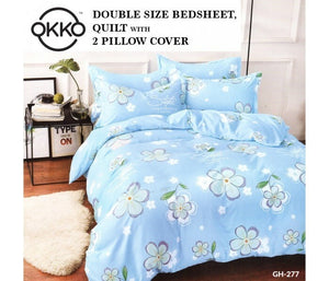 OKKO Elegant Double Size Bedsheet, Quilt And 2 Pillow Covers (4 pc set) GH 277 - Light Blue