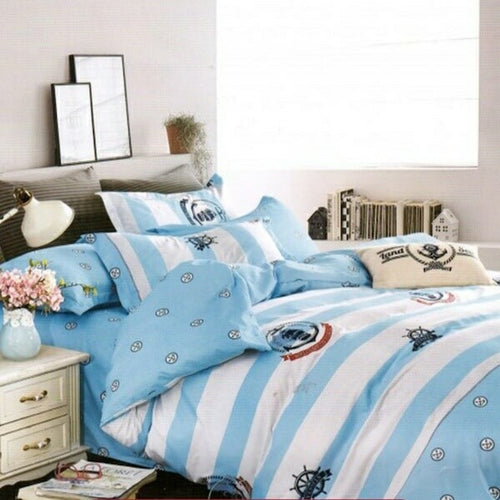 OKKO Elegant Double Size Bedsheet, Quilt And 2 Pillow Covers (4 pc set) GH 277 - Blue-White
