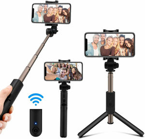 K07 Mobile Phone Bluetooth Extendable Selfie Stick with Tripod integrated and Wireless Shutter Remote - TUZZUT Qatar Online Store