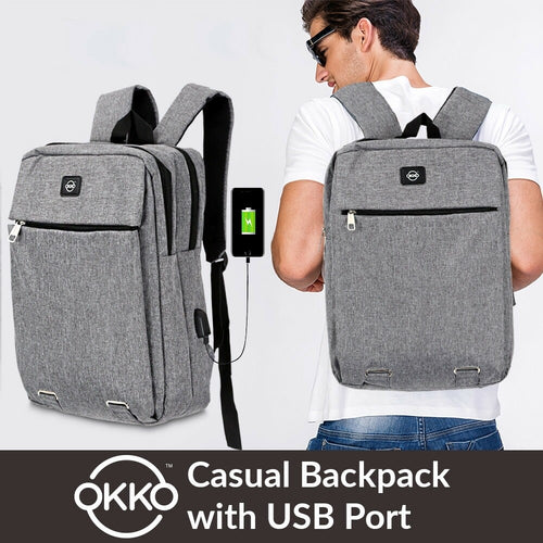 OKKO Casual Backpack with USB port - 16 Inch (Grey) - TUZZUT Qatar Online Store