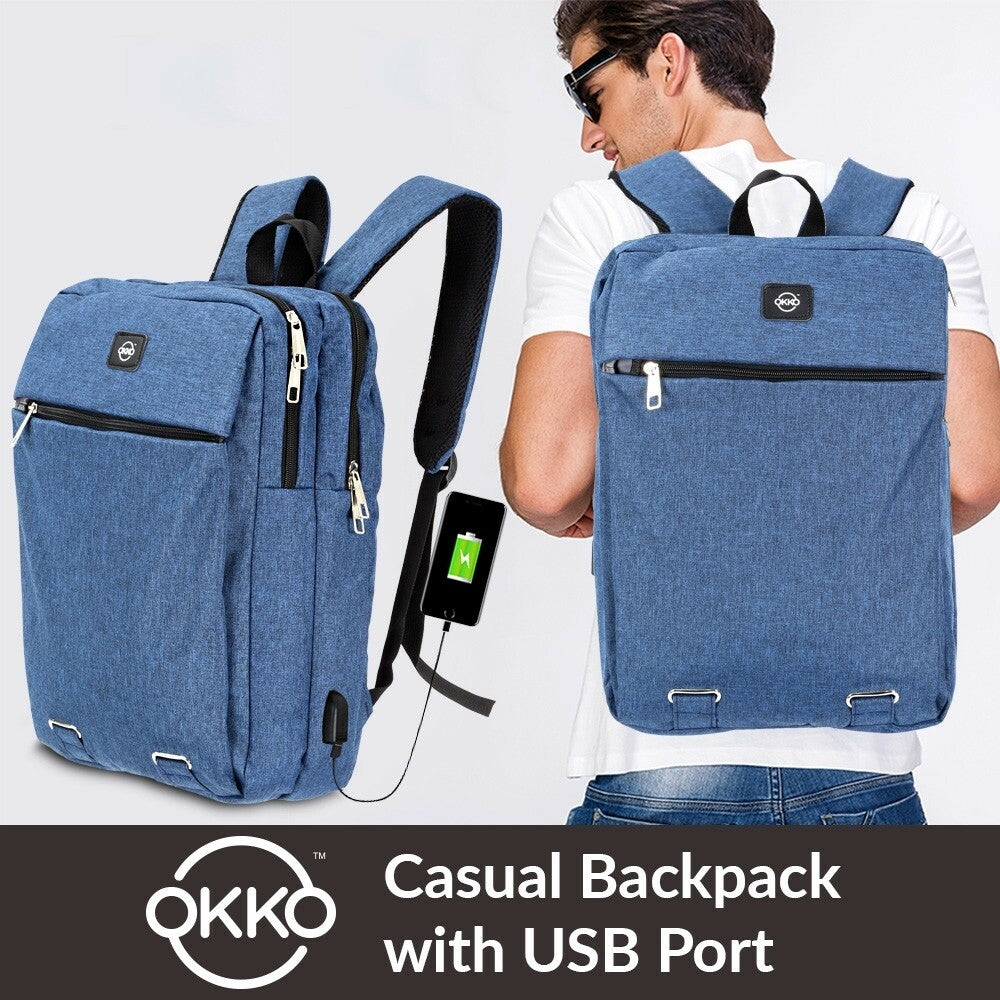 OKKO Casual Backpack with USB port - 16 Inch (Blue)