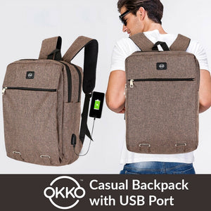 OKKO Casual Backpack with USB port - 16 Inch (Brwon)