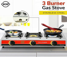 Load image into Gallery viewer, Okko 3 Burner Gas Stove With Auto Ignition - Red & Silver - TUZZUT Qatar Online Store