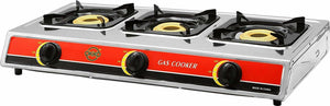 Okko 3 Burner Gas Stove With Auto Ignition - Red & Silver - TUZZUT Qatar Online Store