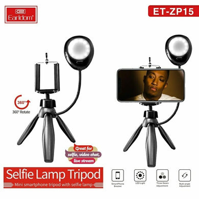 Earldom (ET-ZP15) 360 Degree Rotate Mini Smartphone Tripod with Selfie Lamp - TUZZUT Qatar Online Store