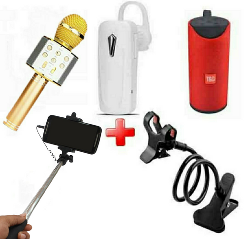 5 in 1 Bundle Offer Bluetooth Headset, Microphone Speaker, Selfie Stick, Mobile Stand and Wireless Speaker (Assorted Colours)