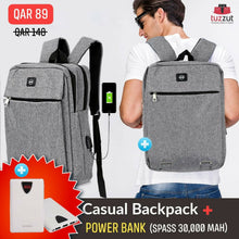 Load image into Gallery viewer, 2 in 1 Bundle Offer OKKO Casual Backpack and Spass 30000 mah Power Bank - TUZZUT Qatar Online Store