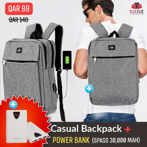 2 in 1 Bundle Offer OKKO Casual Backpack and Spass 30000 mah Power Bank
