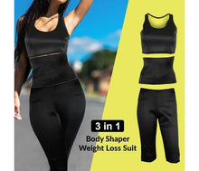 Load image into Gallery viewer, 3 in 1 Body Shaper Weight Loss Suit, Black