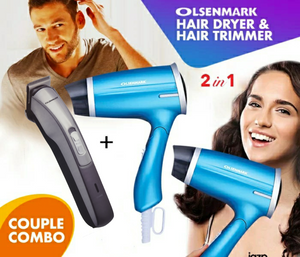 Olsenmark OMH4008+OMTR4061 Pack Of Mini Hair Dryer & Hair and Beard Trimmer Couple Combo (Set of 2) - TUZZUT Qatar Online Store