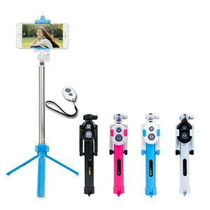 3 In 1 Monopod With Bluetooth Shutter And Build In Tripod WXY-01 - Assorted Colours