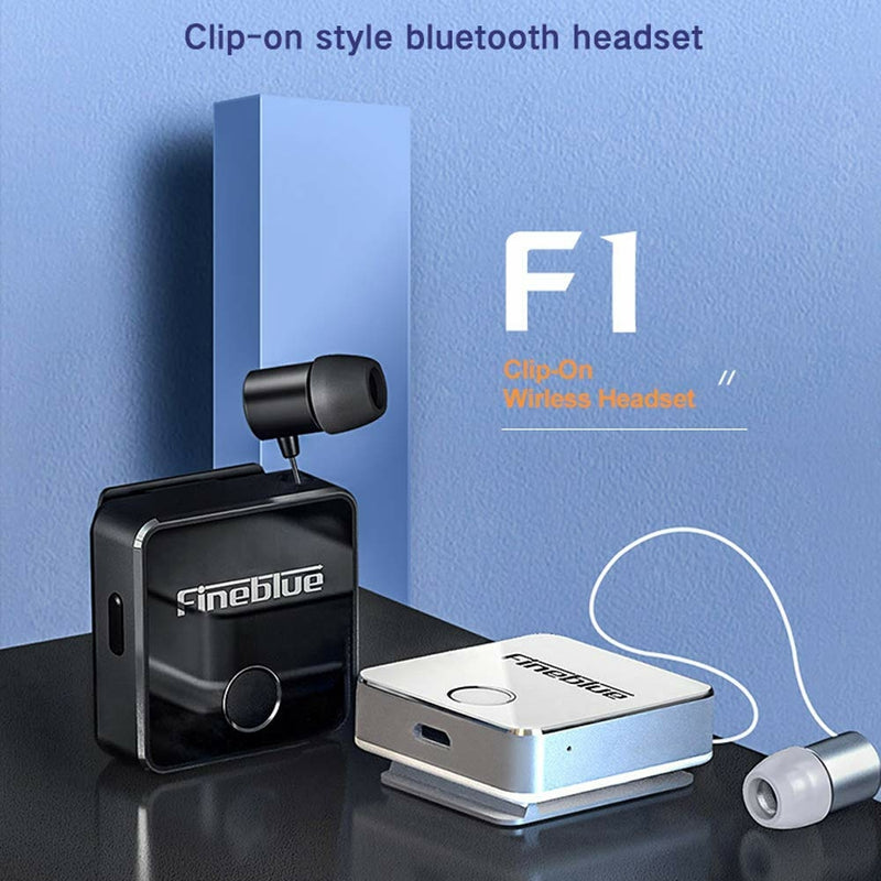 Fineblue F1 Bluetooth 5.0 Headphones Clip-on Wireless Headphone Cable Retractable Earphone Music Headsets Vibration Alert Hands-free with Mic Multi-point Connection - TUZZUT Qatar Online Store
