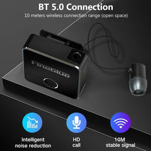 Fineblue F1 Bluetooth 5.0 Headphones Clip-on Wireless Headphone Cable Retractable Earphone Music Headsets Vibration Alert Hands-free with Mic Multi-point Connection