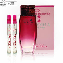 Load image into Gallery viewer, Delmont Blanche Victoria Pour femme 100ml + 2pcs 10ml travel bottles (Genie Collection)