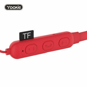 New! YOOKIE Wireless Bluetooth Sport Magnetic Earphones with mic, Superior Sound Quality with TF SD Card Slot (RED)