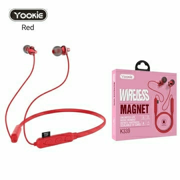 New! YOOKIE Wireless Bluetooth Sport Magnetic Earphones with mic, Superior Sound Quality with TF SD Card Slot (RED) - TUZZUT Qatar Online Store