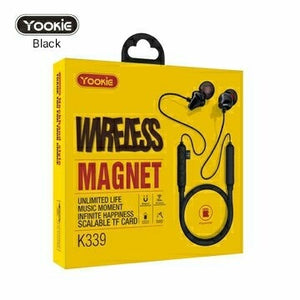New! YOOKIE Wireless Bluetooth Sport Magnetic Earphones with mic, Superior Sound Quality with TF SD Card Slot - TUZZUT Qatar Online Store