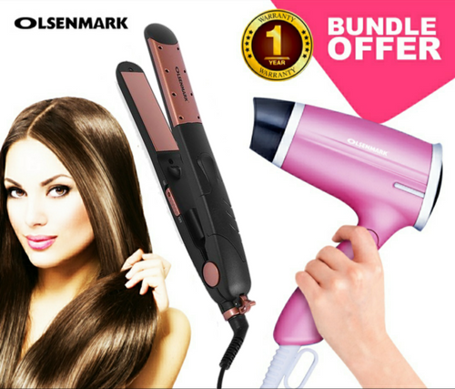 Olsenmark CO4008+4020 Pack Of Hair Dryer & Ceramic Hair Straightener (Set of 2) - TUZZUT Qatar Online Store