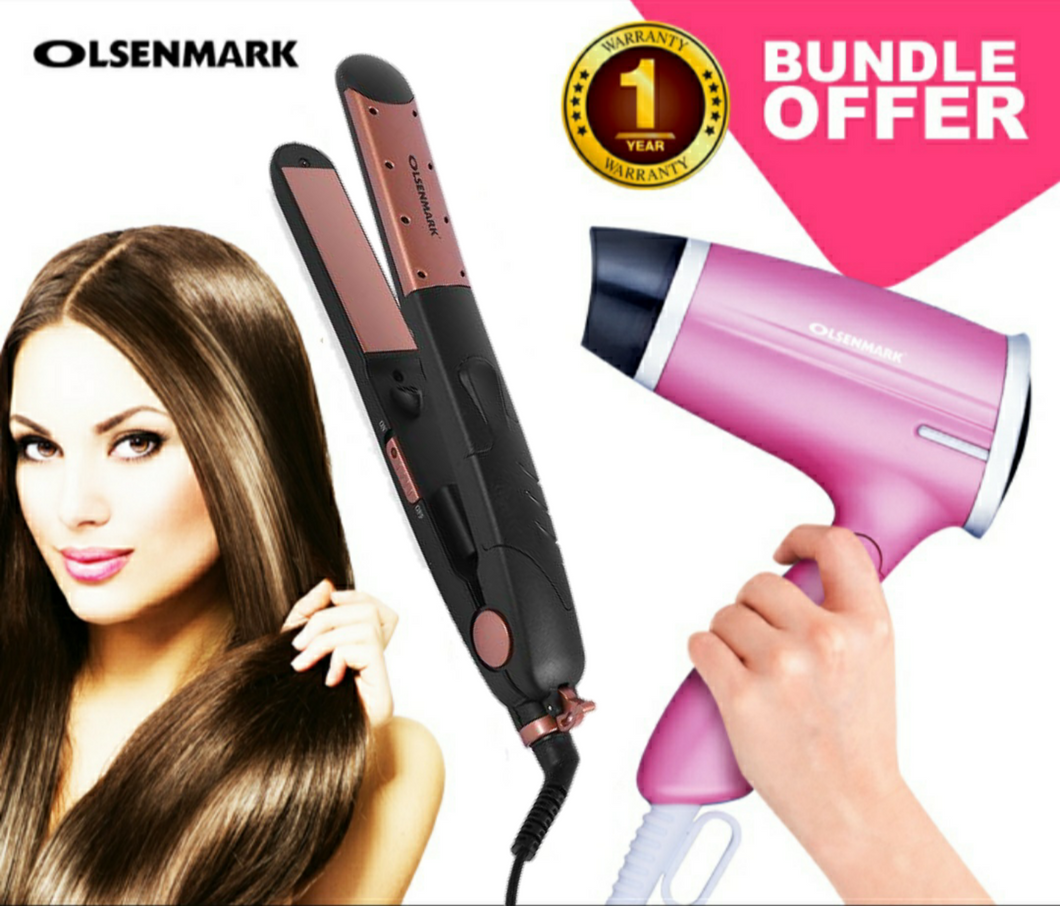 Olsenmark CO4008+4020 Pack Of Hair Dryer & Ceramic Hair Straightener (Set of 2)