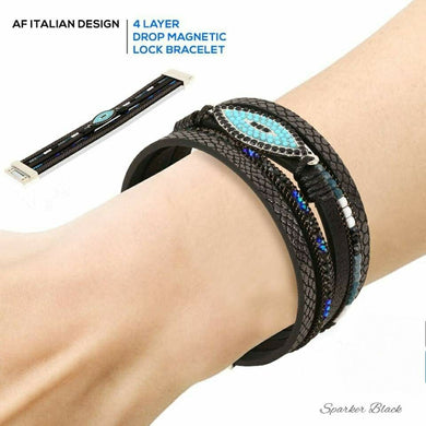 AF Italian Design 4 Layer Drop Magnetic Lock Bracelet - Black - TUZZUT Qatar Online Store