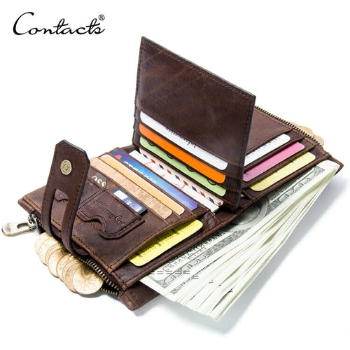 Genuine Leather Bifold vertical wallet with zip pocket for men - Model#1238 - TUZZUT Qatar Online Store
