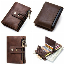 Load image into Gallery viewer, Genuine Leather Bifold vertical wallet with zip pocket for men - Model#1238 - TUZZUT Qatar Online Store