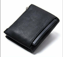 Load image into Gallery viewer, Genuine Leather Bifold vertical wallet with zip pocket for men - Model#1238