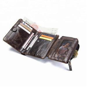 Mens Trifold Wallet Genuine Leather Credit Card Holder Purse with Zipper Pocket-M1002 - TUZZUT Qatar Online Store