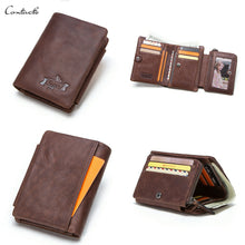 Load image into Gallery viewer, Mens Trifold Wallet Genuine Leather Credit Card Holder Purse with Zipper Pocket-M1002