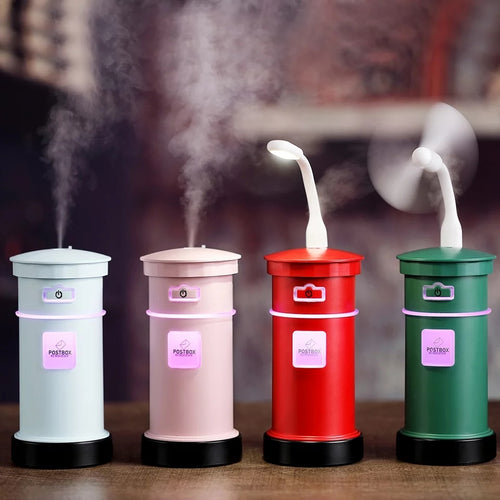 3 in 1 Aroma Diffuser Postbox Humidifier Mini Air Purifier Aromatherapy Essential Oil Diffuser LED Night Light USB Fan Fogger - TUZZUT Qatar Online Store