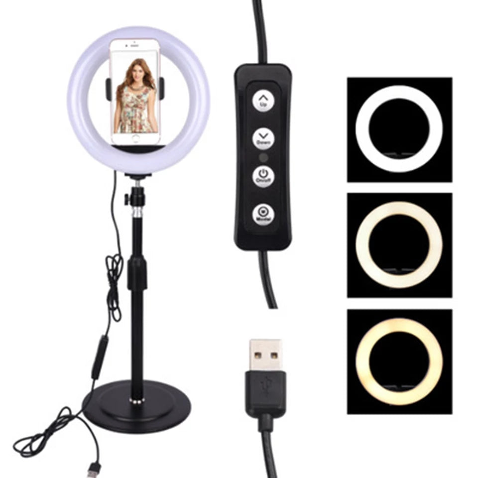 8 Inch LED Ring Light 3 Light Modes Ring Light With Phone Stand For Live Streaming, Tiktok, Photography, etc - TUZZUT Qatar Online Store